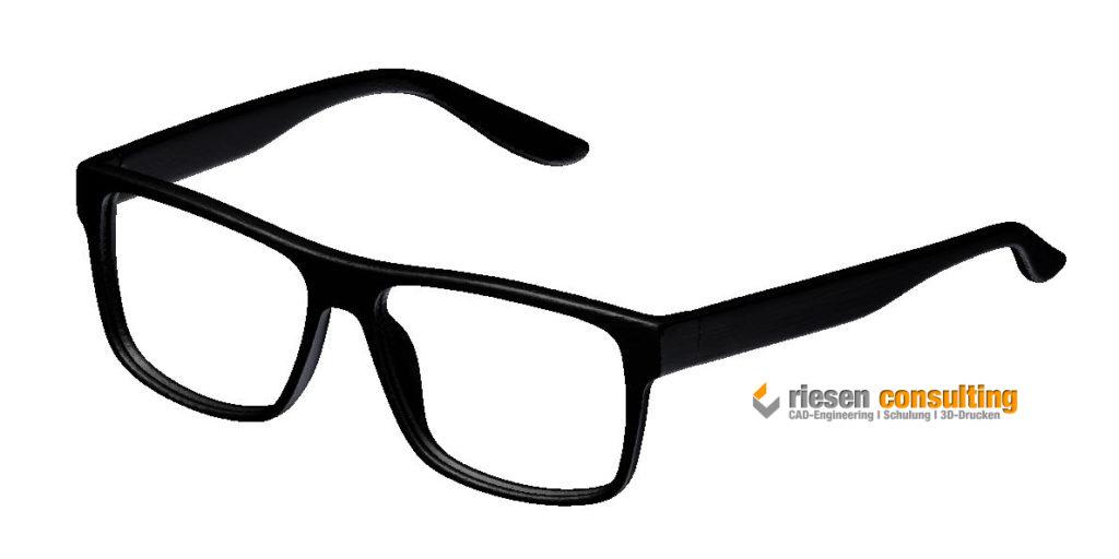 CAD-Datei mittels 3D-Scan aus einem Brillengestell erstellt.