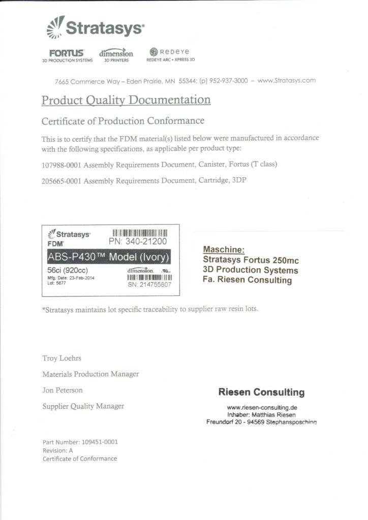 Certificate 3D-Druck Material