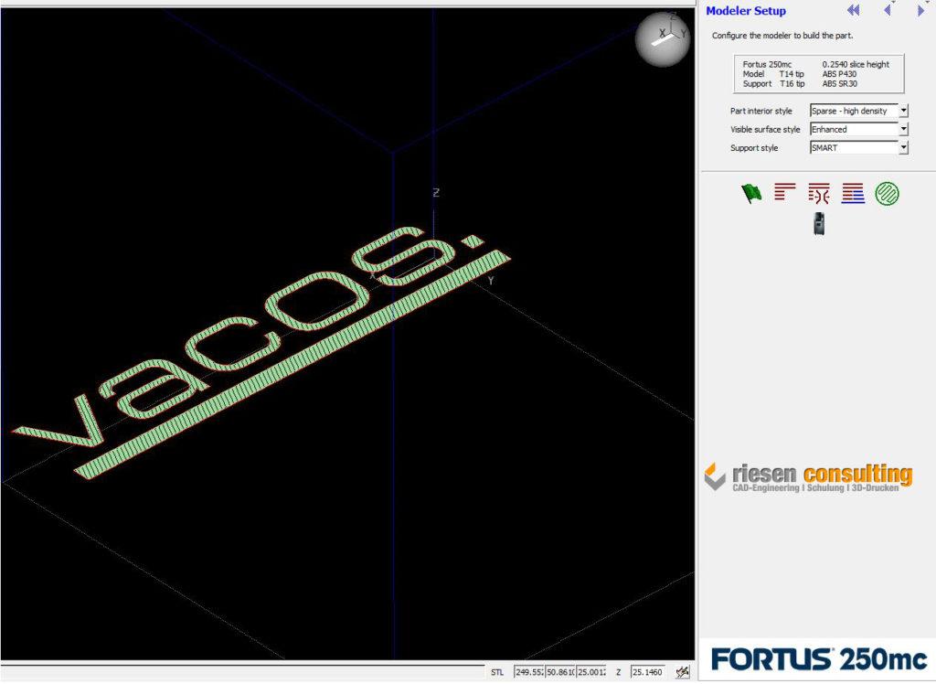 Programmierung des Logos mit Insight-Software für unsere Fortus Industrieanlage.