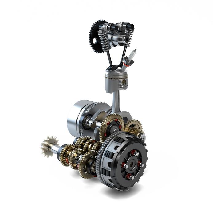 Part of disassembled engine showing piston, cylinder, crankshaft